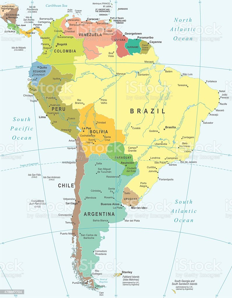 South America - map - illustration vector art illustration