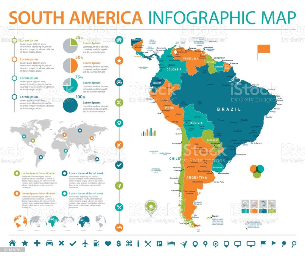 South America Map Info Graphic Vector Illustration stock vector