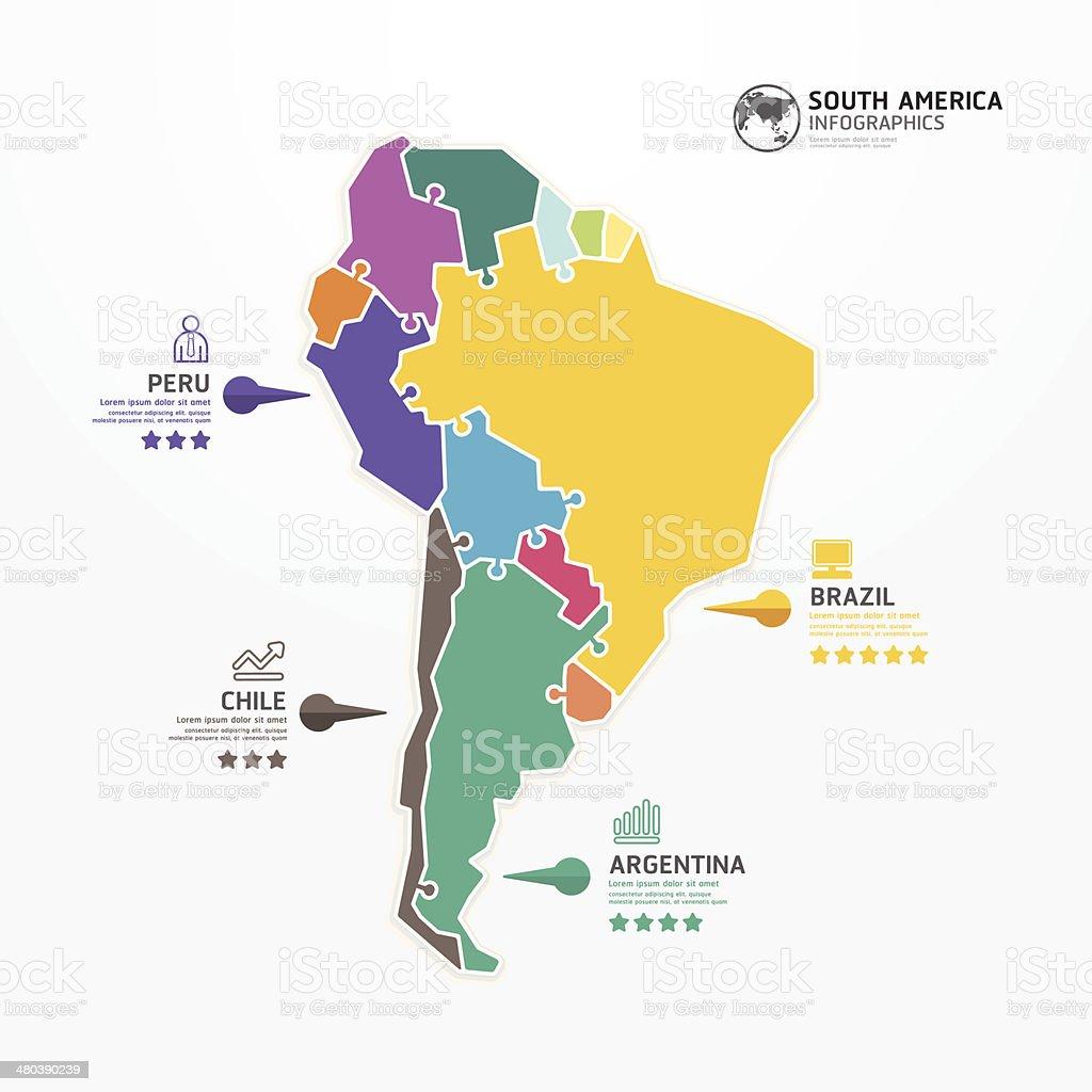 América Del Sur Mapa Plantilla De Infografía Rompecabezas Concepto - America mapa juego