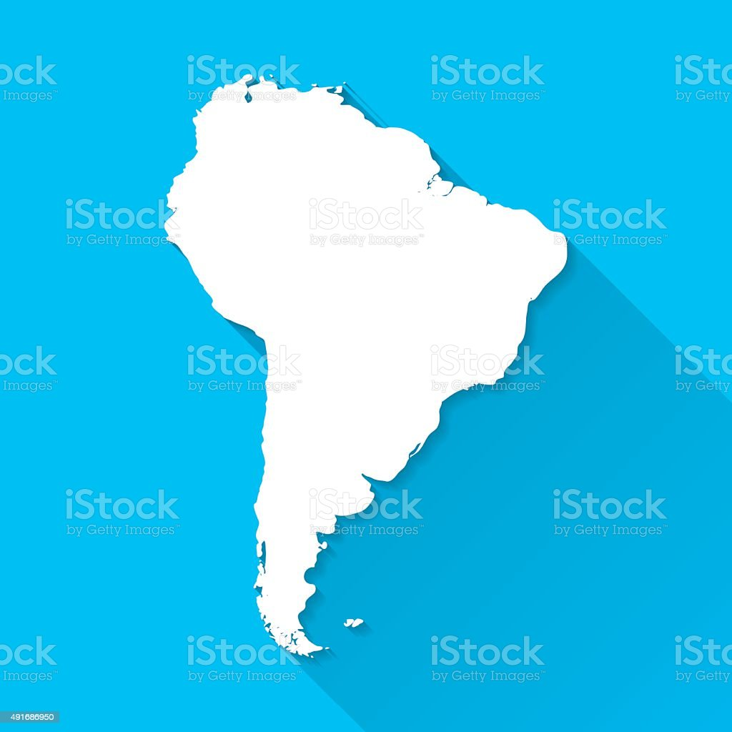 South America Map on Blue Background, Long Shadow, Flat Design vector art illustration