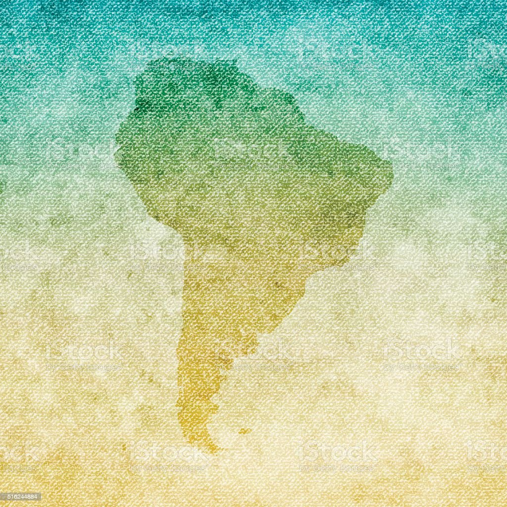 South America Map on grunge Canvas Background vector art illustration