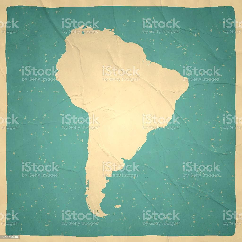 South America Map on old paper - vintage texture vector art illustration