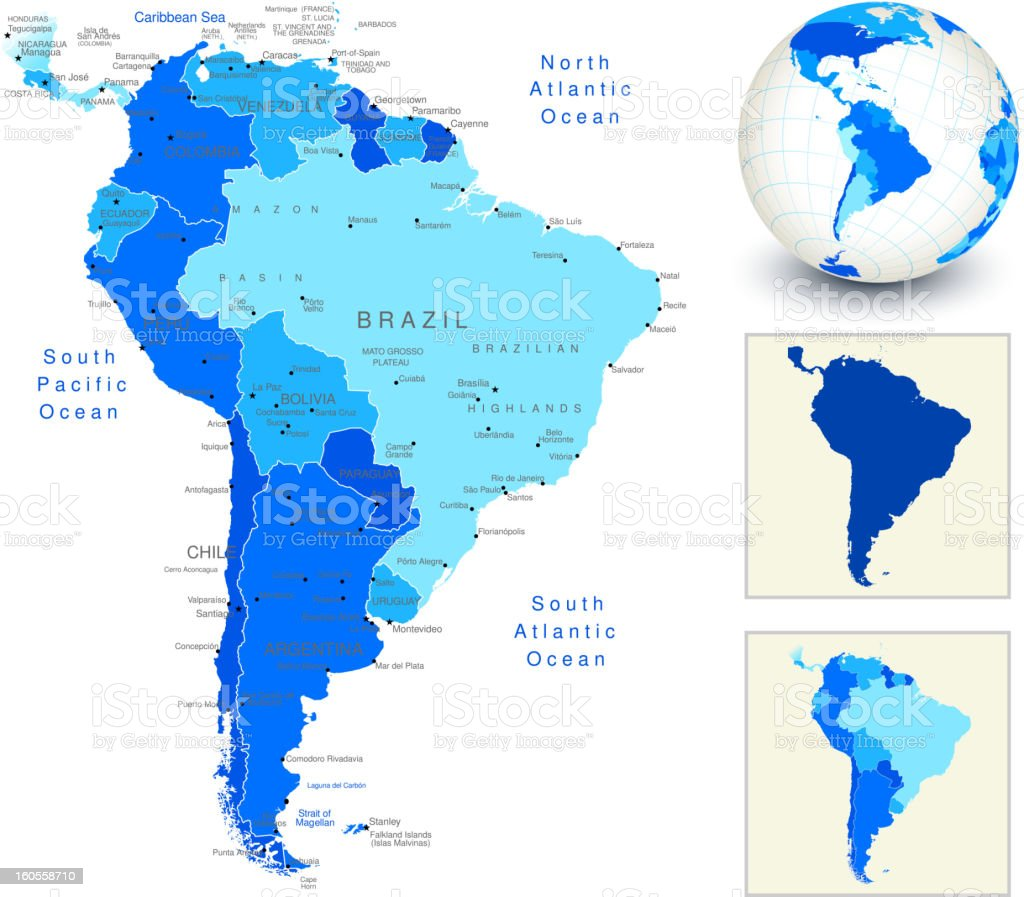 South America Map with blue globe and country outlines vector art illustration
