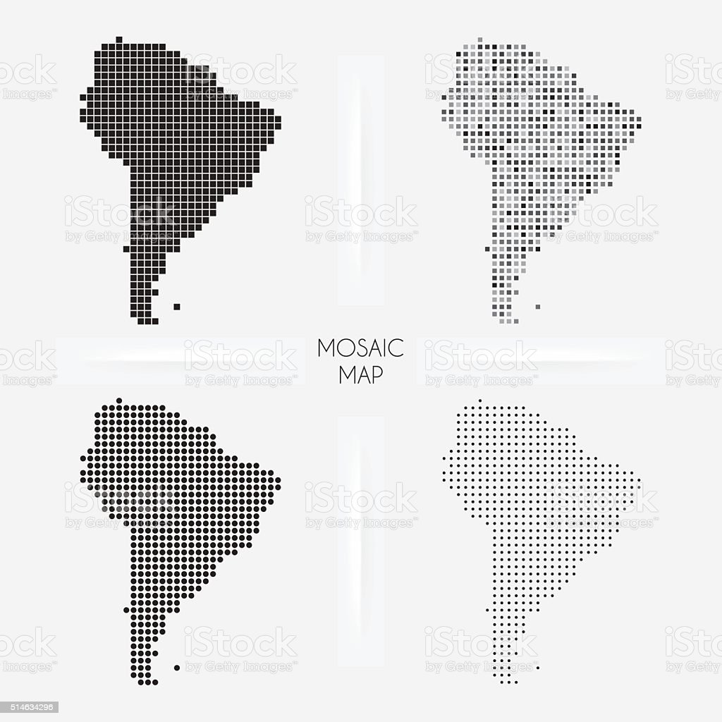 South America maps - Mosaic squarred and dotted vector art illustration