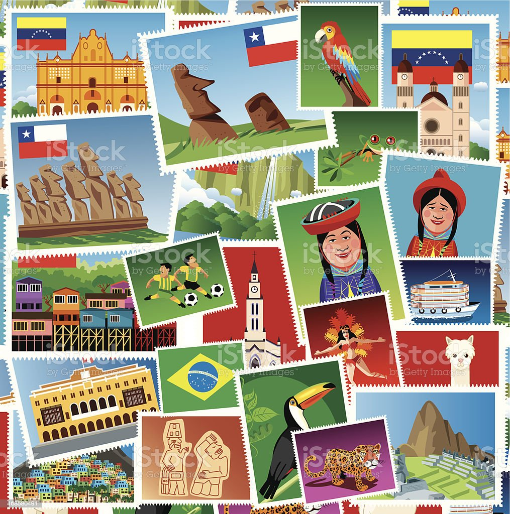 South America Stamps vector art illustration