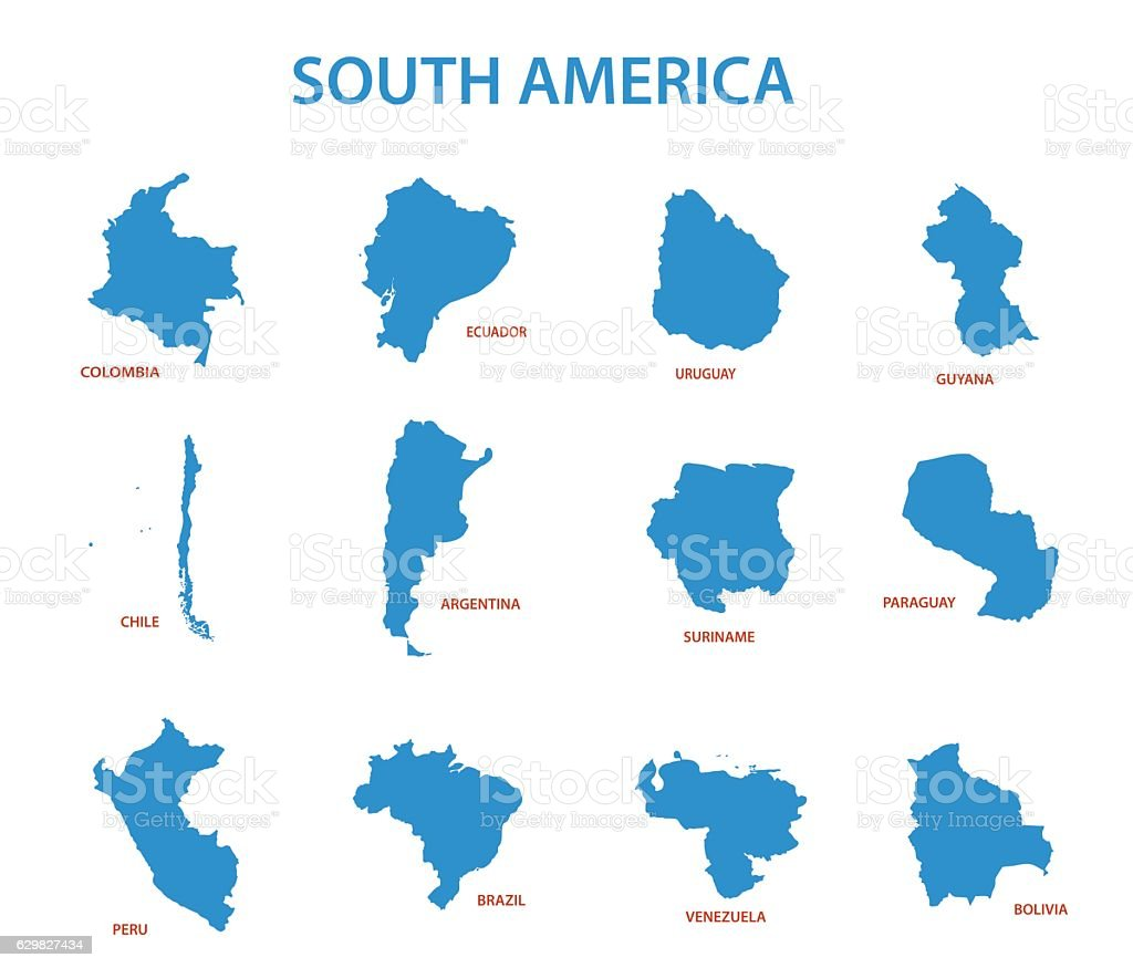 south america - vector maps of countries vector art illustration