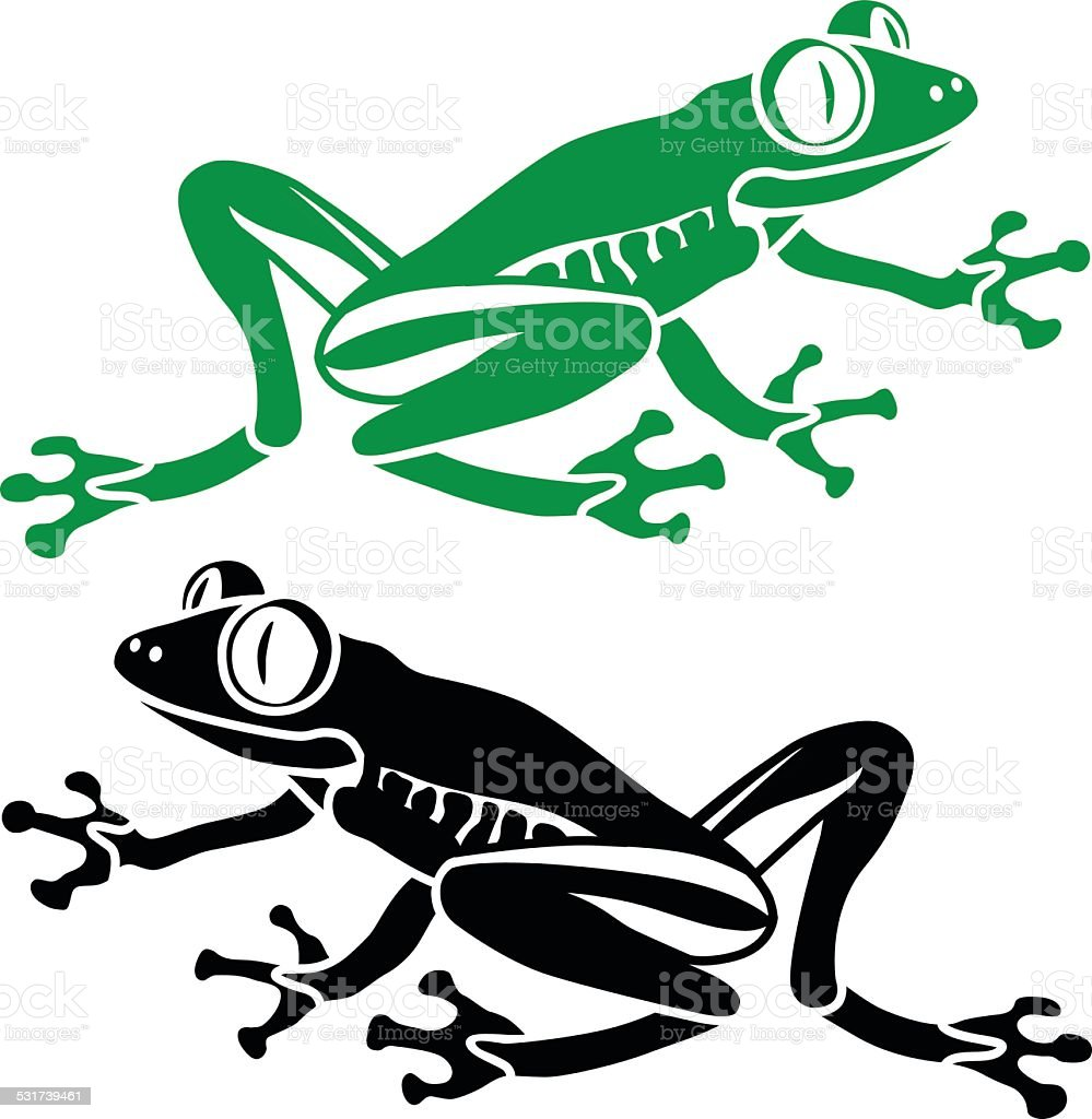 South American rainforest red eyed tree frog vector art illustration