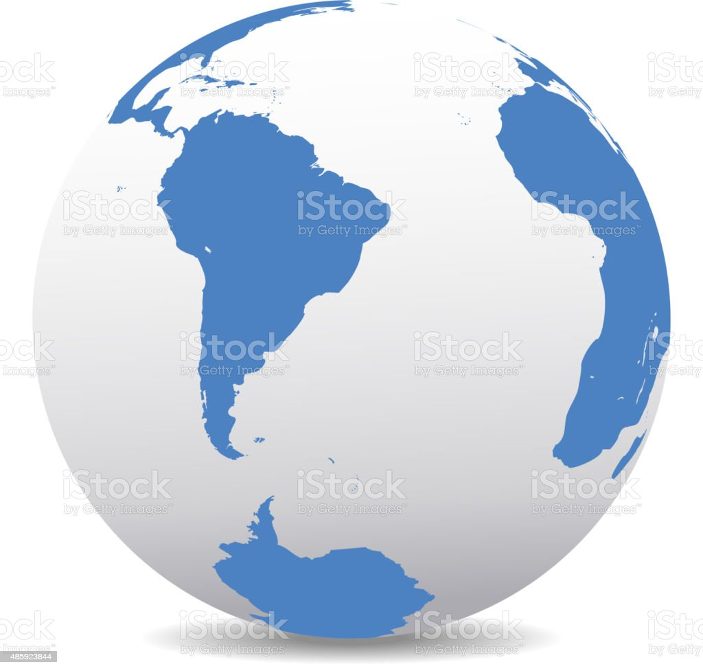 South America,South Pole and Africa Global World vector art illustration