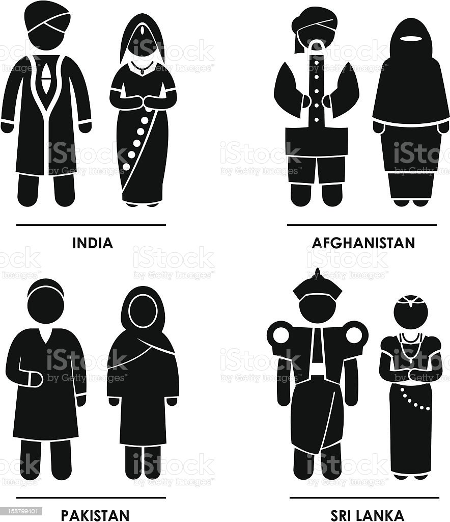 South Asia Clothing Costume Pictogram royalty-free stock vector art