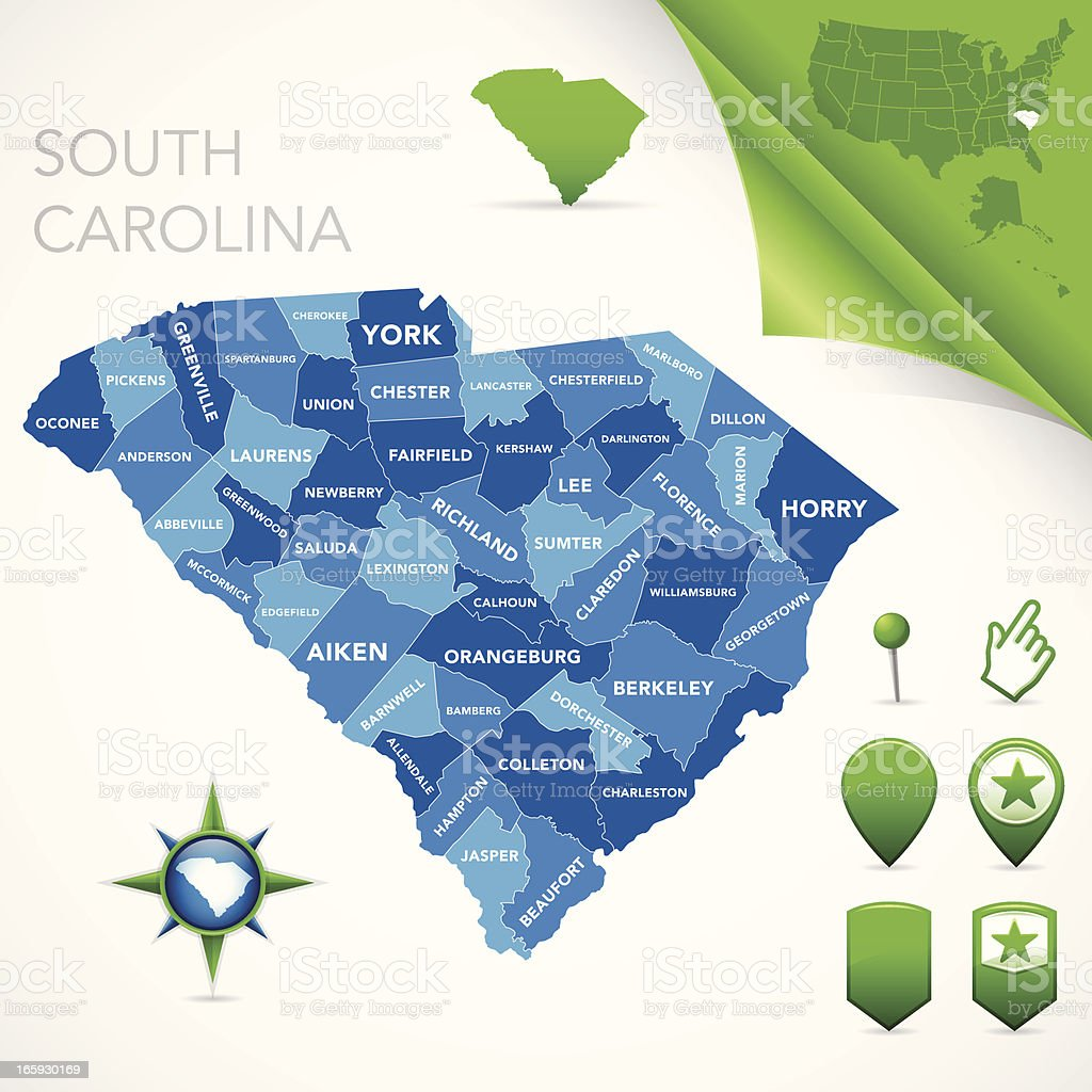 South Carolina County Map royalty-free stock vector art