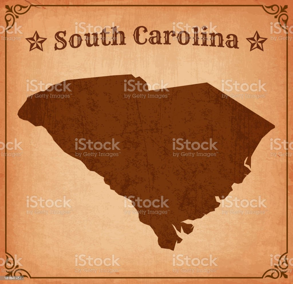 South Carolina Grunge Map with Frame royalty-free stock vector art