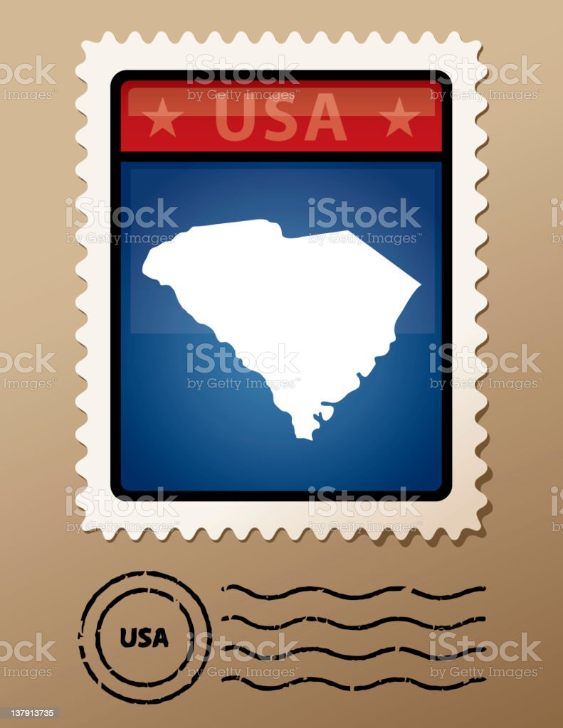 USA South Carolina postage stamp royalty-free stock vector art