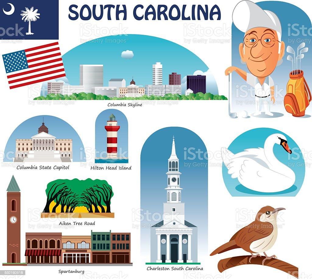 South Carolina Symbols vector art illustration