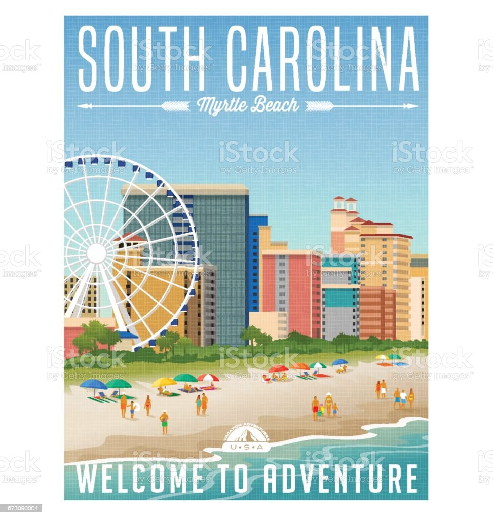 South Carolina travel poster or sticker. Vector illustration of Myrtle Beach with hotels, ferris wheel and people on the beach. vector art illustration
