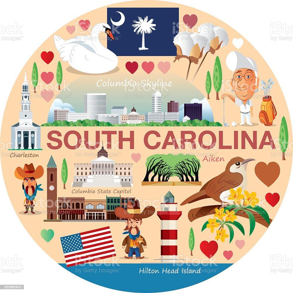 South Carolina Travels vector art illustration