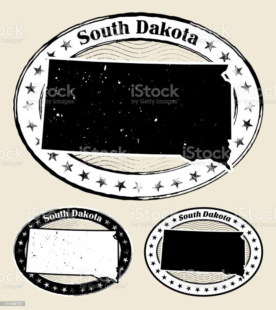 South Dakota Grunge Map Black & White Stamp Collection vector art illustration