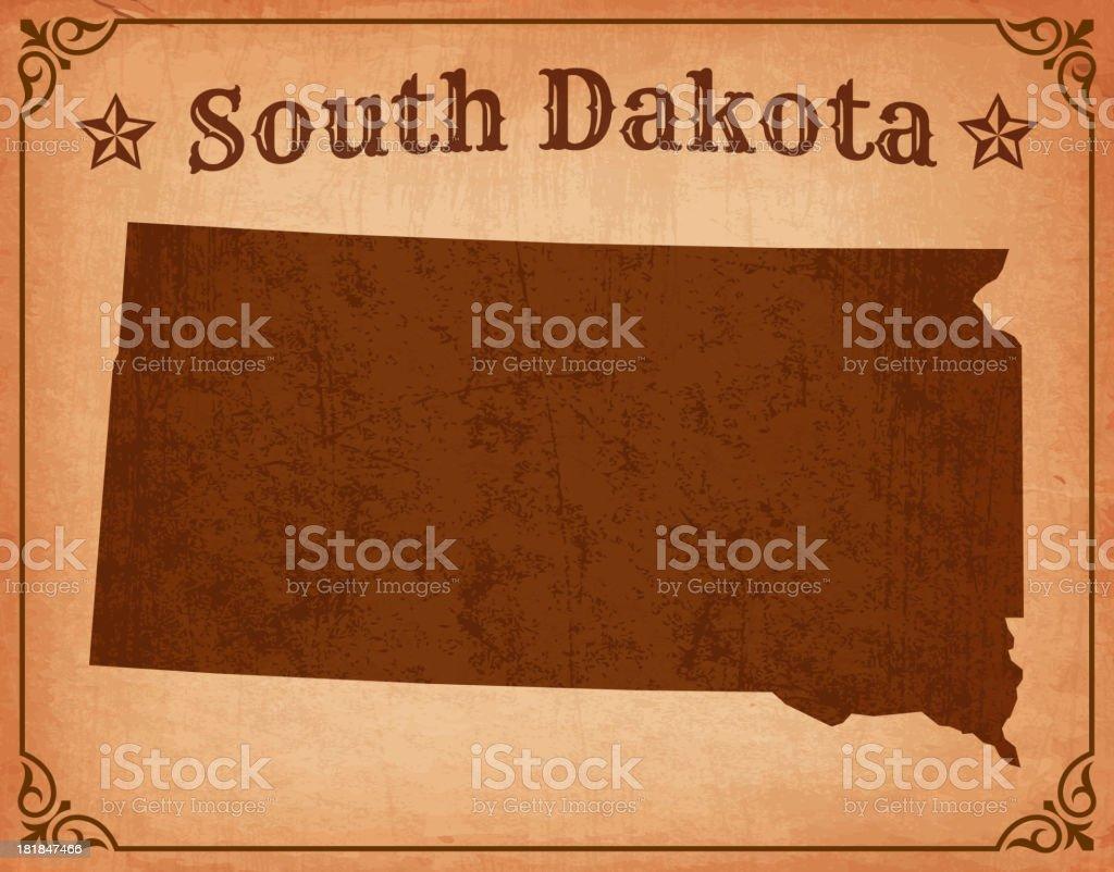 South Dakota Grunge Map with Frame royalty-free stock vector art