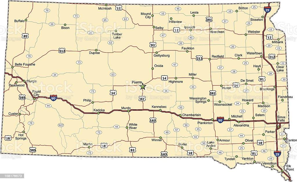 South Dakota Highway Map royalty-free stock vector art