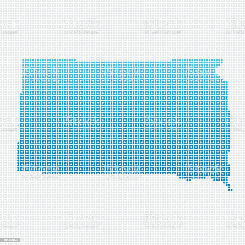 South Dakota Map Blue Dot Pattern royalty-free stock vector art