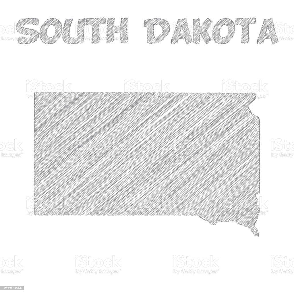 South Dakota map hand drawn on white background vector art illustration