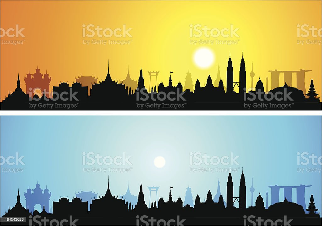 South East Asia (Complete, Moveable, Detailed Buildings) vector art illustration