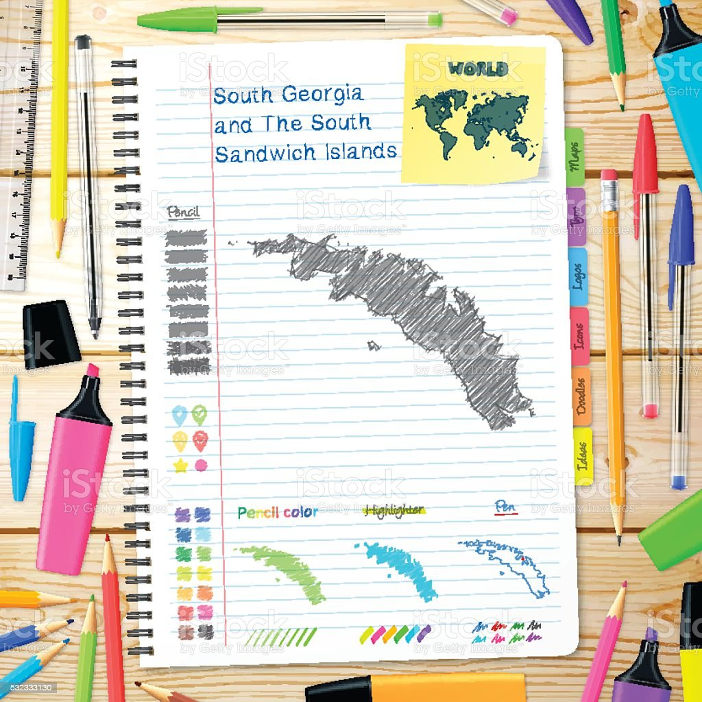 South Georgia and South Sandwich Islands maps drawn on notebook. vector art illustration