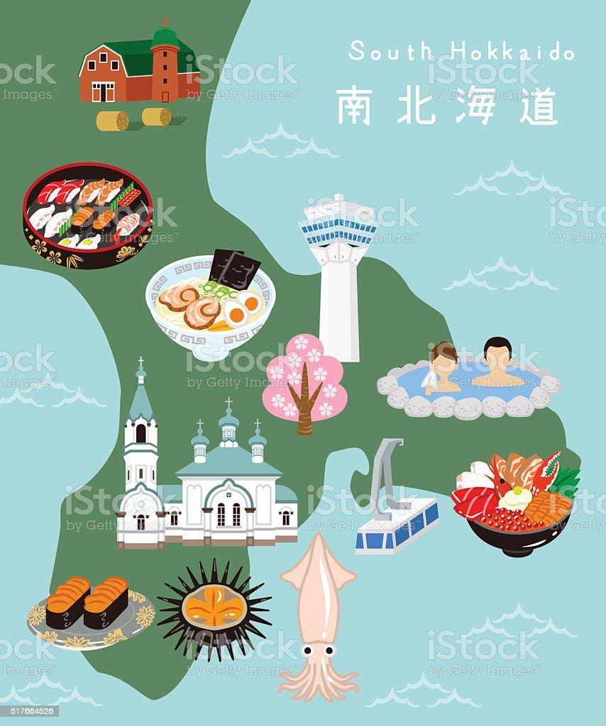South Hokkaido Illustration Map vector art illustration