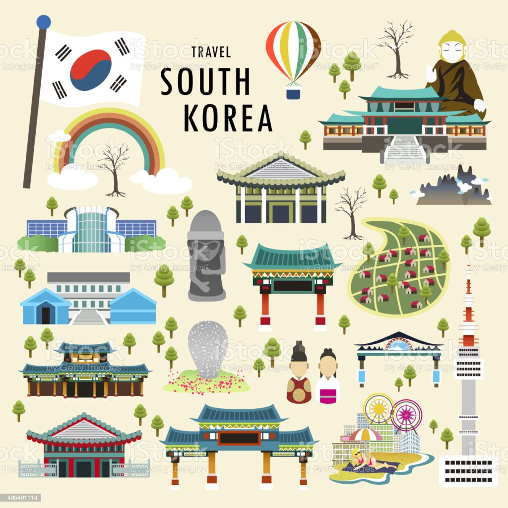 South Korea attractions vector art illustration