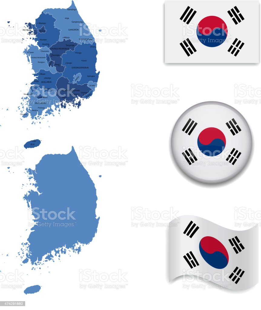 South Korea Map and Flag Collection vector art illustration