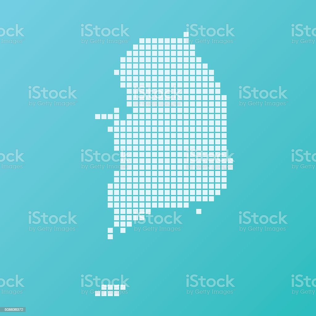 South Korea Map Basic Square Pattern Turquoise vector art illustration
