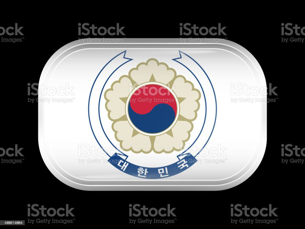 South Korea Variant Flag. Rectangular Shape with Rounded Corners vector art illustration