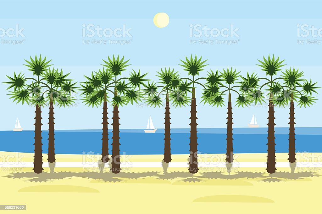 south sea shore with palms background vector art illustration