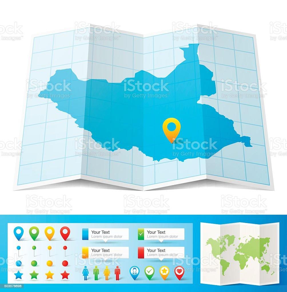 South Sudan Karte Mit Lage Pins Isoliert Auf Weißem Hintergrund ...
