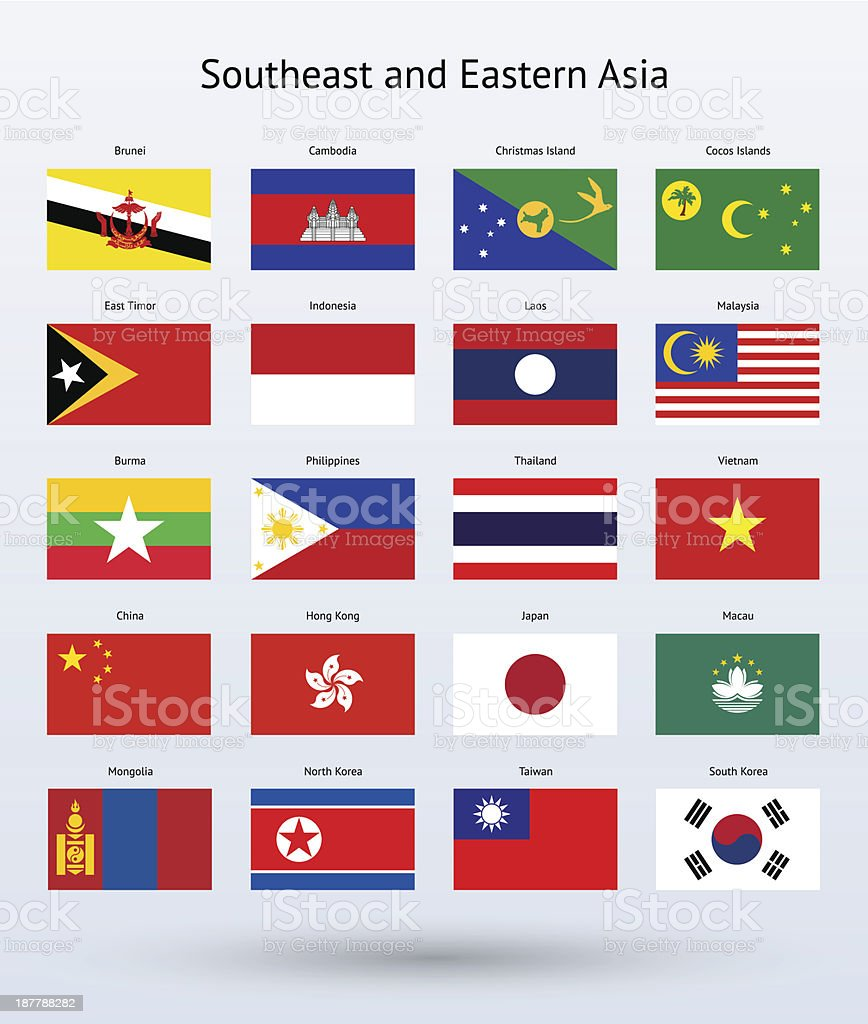 Southeast and Eastern Asia Flags Collection vector art illustration