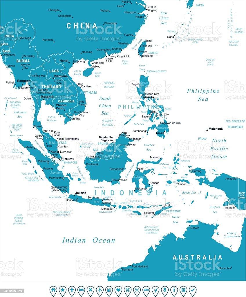 Southeast Asia - map and navigation labels - illustration vector art illustration