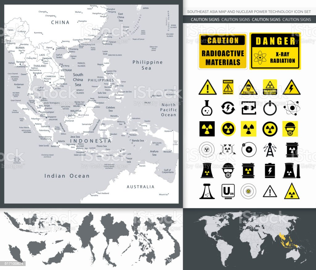 Southeast Asia Map And Nuclear Power Technology Icon Set vector art illustration