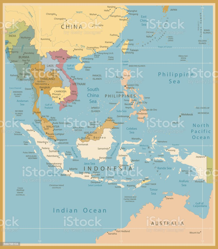 Southeast Asia Map Detailed Vintage Colors vector art illustration
