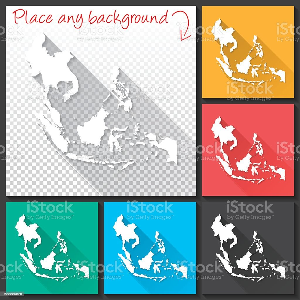 Southeast Asia Map for design, Long Shadow, Flat Design vector art illustration