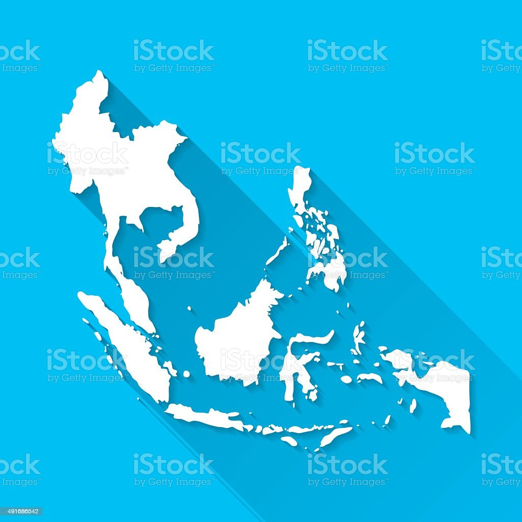 Southeast Asia Map on Blue Background, Long Shadow, Flat Design vector art illustration