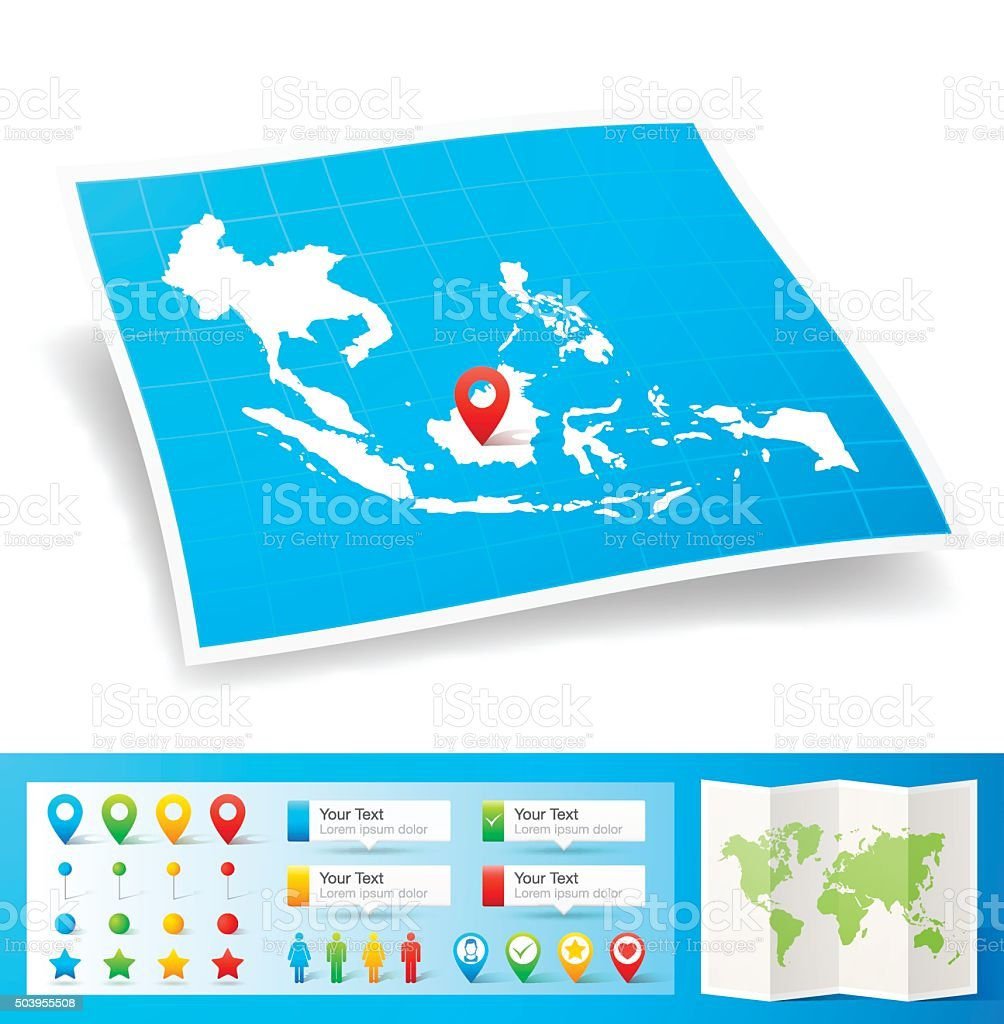 Southeast Asia Map with location pins isolated on white Background vector art illustration