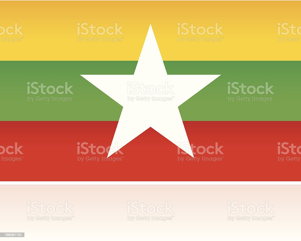 Southern Asian Flag: Myanmar royalty-free stock vector art