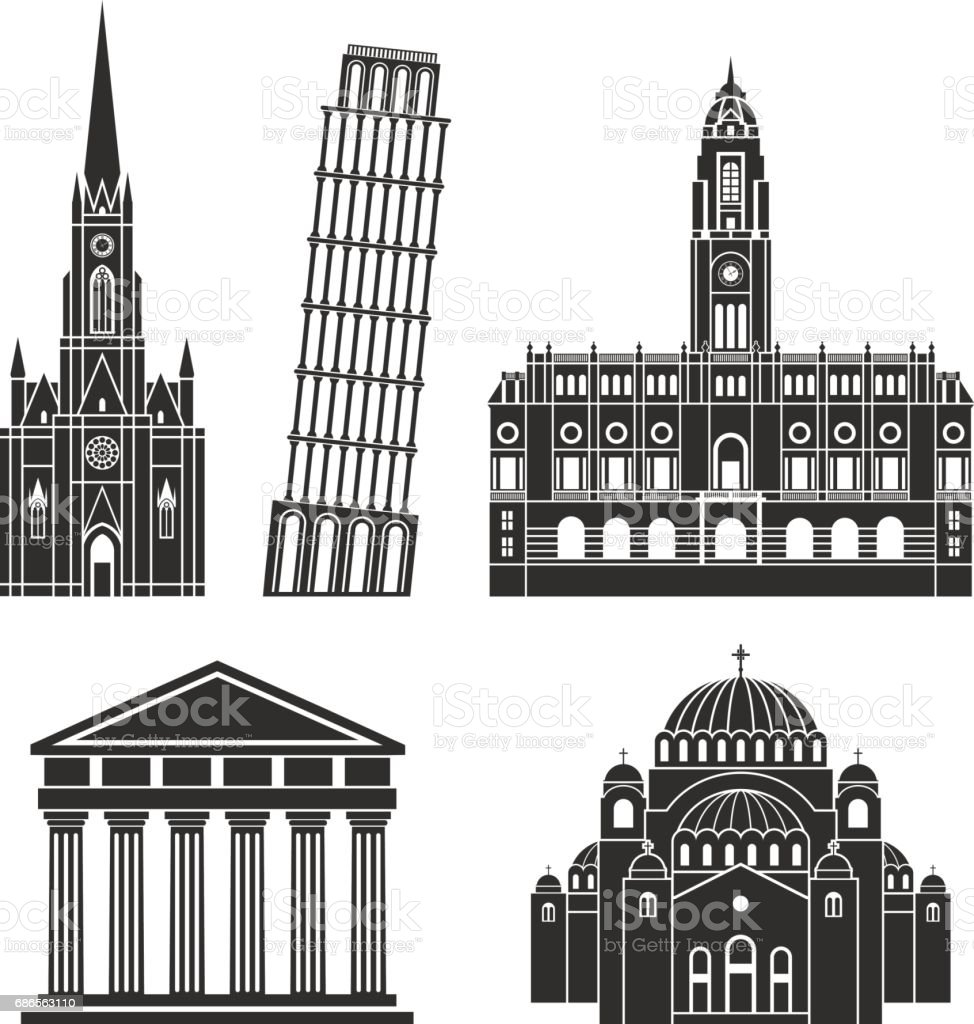 Southern Europe. European buildings on white background vector art illustration