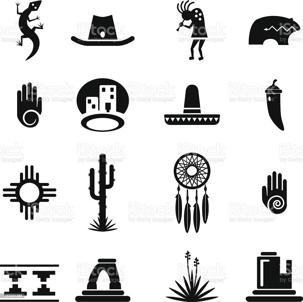 Southwest Icons Set vector art illustration