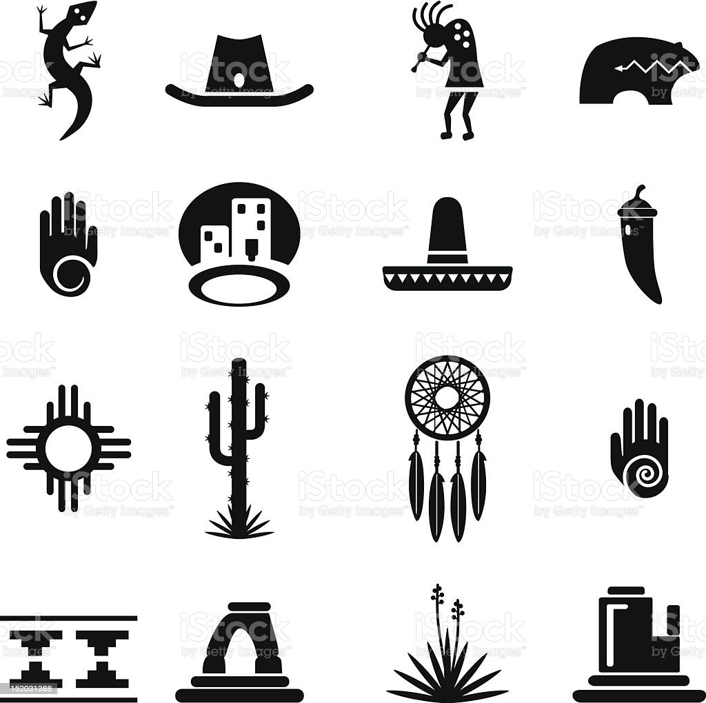 Southwest Icons Set vector art illustration