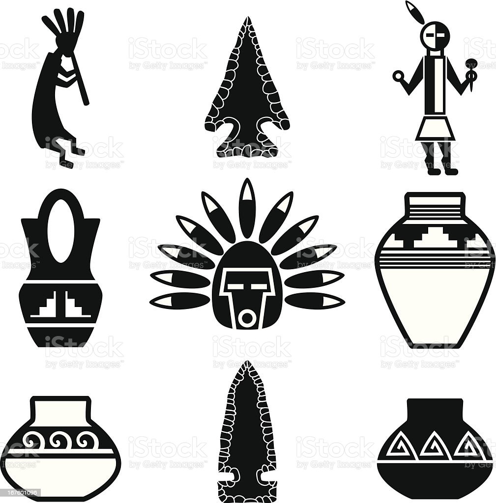 Southwest Native American Artifacts vector art illustration