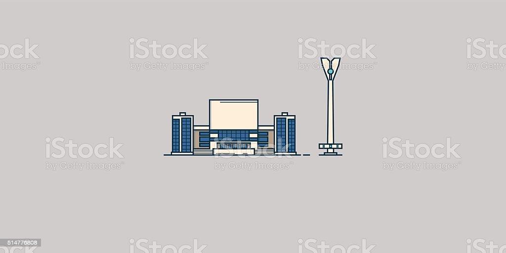 Soviet architecture vector art illustration