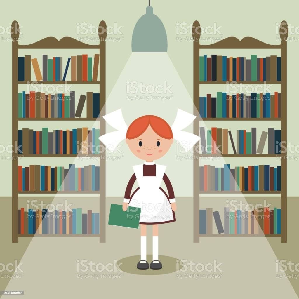 Soviet cartoon schoolgirl in library. vector art illustration