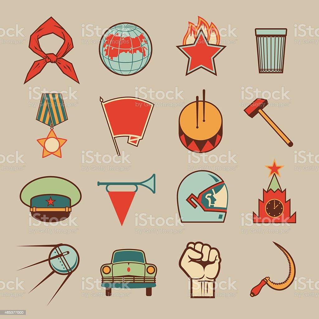 Soviet icons color vector art illustration