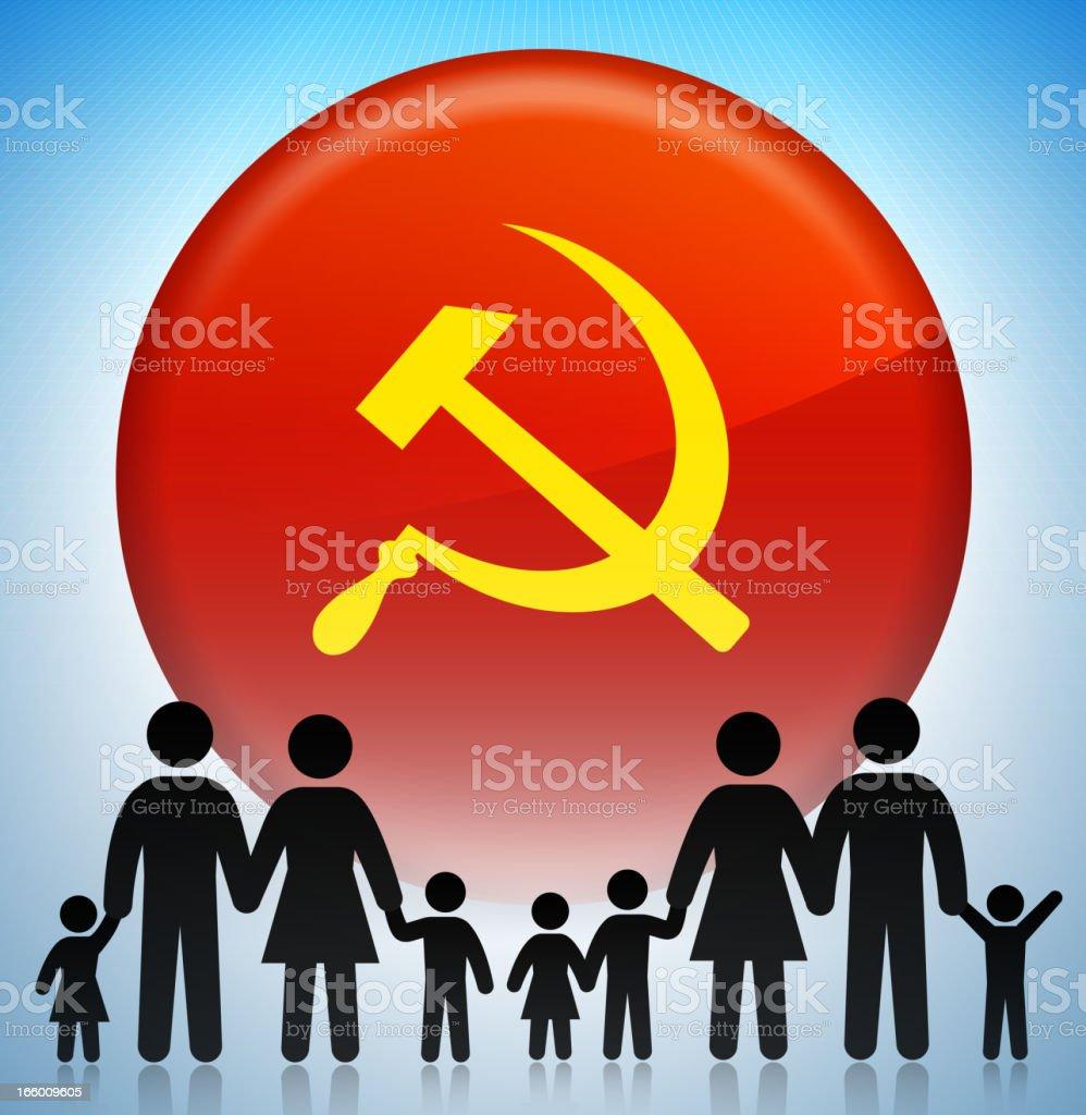 Soviet Union Family Concept Stick Figures royalty-free stock vector art