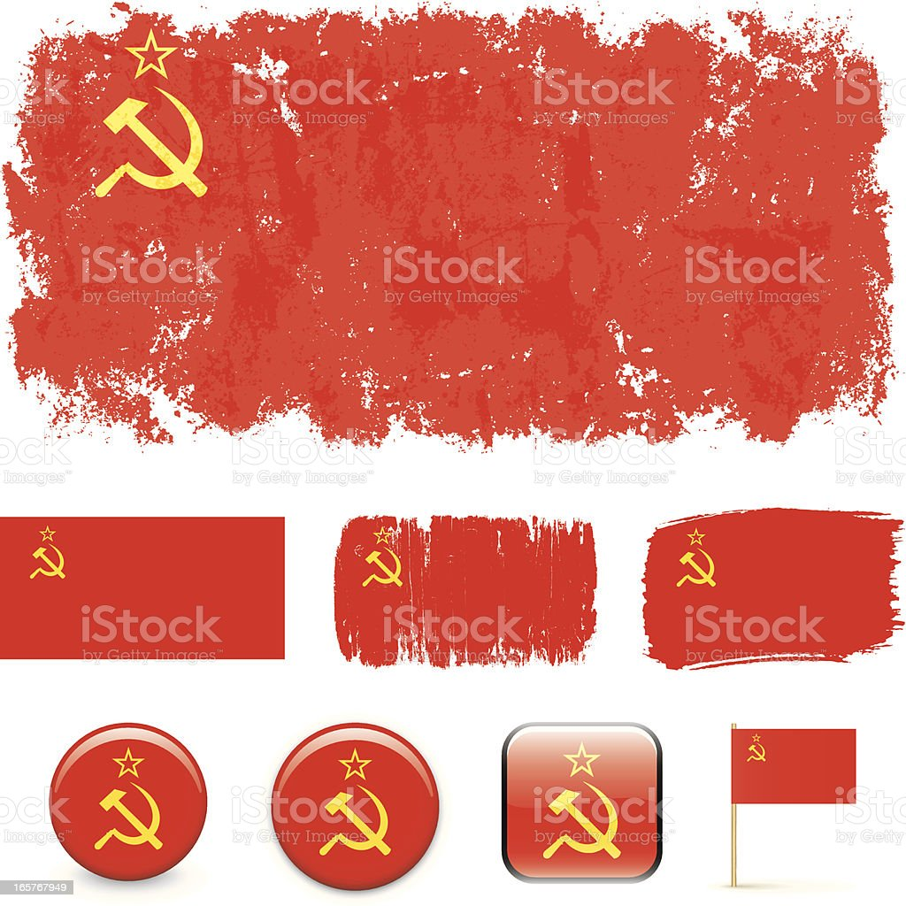 Soviet Union flags royalty-free stock vector art